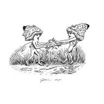 """Inktober drawing, 2017. """"Shroomlings"""" 9x12"""" $250"""