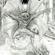 The Creep Owl personal drawing final inkwork.