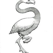 "Inktober drawing, 2017. ""Flamingo"" 8.5x11"" $200"