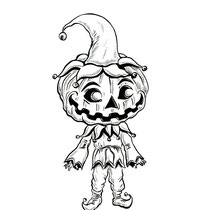 """Inktober drawing, 2017. """"Pumpkin Head"""" 9x12"""" See Character Art Section of Website for sale of original drawing."""