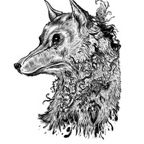 "Wolf Head. ""Graphic created for the band, ""And The Traveler"" 11x15"" $500"