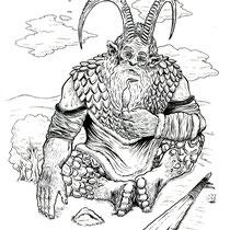 "Inktober drawing, 2017. ""Golek the Giant"" 9x12"""