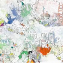 「ミルクに浮かべた虹の城」 2013.5(409mm×318mm)