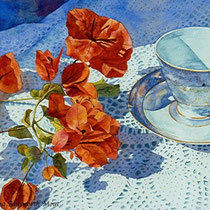 """ Bougainvillea and Tea cup ""  •Watercolour"