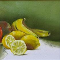 Stillleben mit Bananen | 2021 | Öl / Grafit auf Papier | 22 x 22 cm