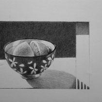 Schale mit Zitrone | 2020 | Bleistift auf Papier auf Holz | 14 x 20 cm