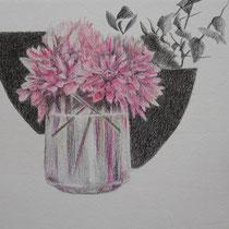 Vase mit Dahlie | 2020 | Bleistift / Farbstift auf Papier auf Holz | 14 x 20 cm