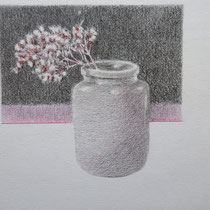 Vase mit Verbene | 2020 | Bleistift / Farbstift auf Papier auf Holz | 14 x 20 cm