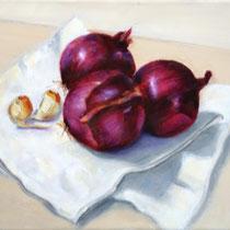 Drei rote Zwiebeln | 2021 | Öl auf Leinwand | 24 x 30 cm