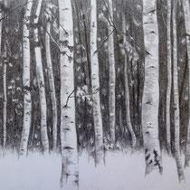 Birkenwäldchen | 2021 | Bleistift auf Papier auf Holz | 20 x 25 cm