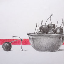Kirschen in einer Schale | 2020 Bleistift / Farbstift auf Papier auf Holz | 14  x 20 cm