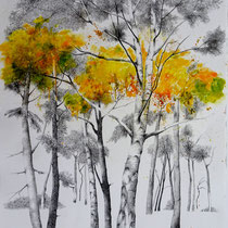 Melaten IV | 2021 | Tusche / Ölfarbe auf Papier | 76 x 56 cm