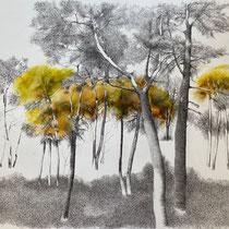 Melaten I 2021 | Tusche / Ölfarbe auf Papier | 76 x 56 cm