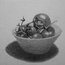 Schüssel mit Tomaten | 2020 | Bleistift auf Papier auf Holz | 14 x 20 cm