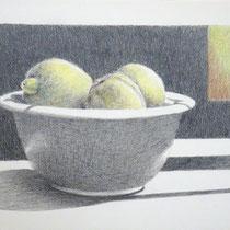 Drei Zitronen in einer Schale | 2020 | Bleistift / Farbstift auf Papier auf Holz | 14 x 20 cm