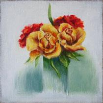 Rosen in kleiner Vase | 2021 | Öl auf Leinwand | 20 x 20 cm
