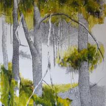 Stadtwald | 2021 | Tusche / Ölfarbe auf Papier | 76 x 56 cm