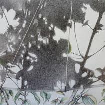 Unterm Schirm | 2020 | Bleistift / Farbstift auf Papier auf Holz | 20 x 25 cm