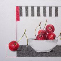 Schale mit Kirschen | 2020 | Bleistift / Farbstift auf Papier auf Holz | 14 x 20 cm