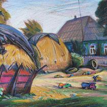 В. Аксёнов. ДВОР ТРАКТОРИСТА. 2007. К., масляная пастель. 2007. 48х61