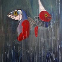 Die Fischer, 2010, 100 x 80 cm, Öl auf Leinwand