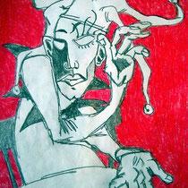 Harlekin, 2002, 22 x 18 cm, Bleistift, Farbstift auf Papier