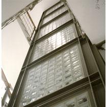 Glasbaustein Aufzug-Verglasung
