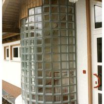 Außenwand aus Glasbausteinen im Eingangsbereich, Gummersbach; Dekor: Klarsicht