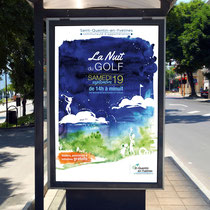 Projet Nuit du golf - illustration - Aquarelle - Saint-Quentin-en-Yvelines
