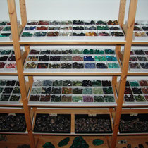 Tumbled stones on shelves 2