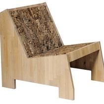 Lounge Chair classic: Gestell in Eiche massiv, Sitz und Rückenfläche in Korkbaumrinde