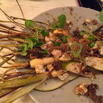 Roasted parsnip salad.  The plating was so artistic and different from anything I have ever seen.