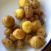 My roast potatoes.  This handful was my entire harvest.