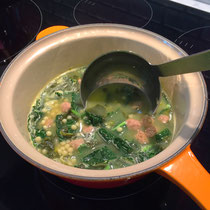 """Tuscan kale harvested from the balcony transforms """"can"""" Italian Wedding soup into """"homemade""""."""