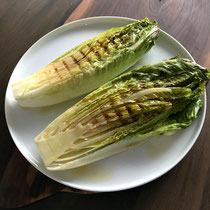Grilled romaine lettuce with my version of Del Posto's Black Truffle Dressing.
