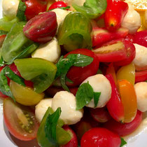 Tomato caprese salad...basil from the hydroponics grower.