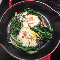 Ramps foraged in the wild by my friend, Linda, cooked with fried eggs.