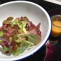 Balcony to Table Lettuce with my Del Posto's Black Truffle Dressing.