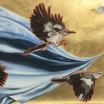 Towing the Sky Around   24 x 14   Mixed media on panel   $350