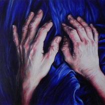 Hands on Blue Fabric oil on Canvas 3'x4' Rosanna Lyons $2750