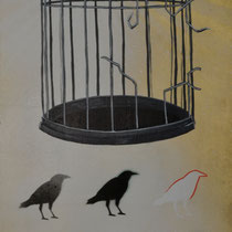 On Top of the Cage   12 x 32   Mixed media on panel   $375