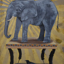 The Weight of It All   Mixed media on panel