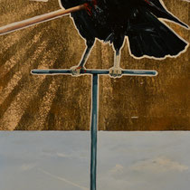 Punctured   8 x 15   Mixed media on panel   $120