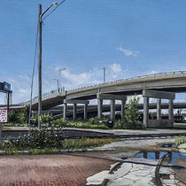 "West Bottoms, James Street Overpass by Russell Horton, Oil on Canvas, 13 1⁄4""x44 1⁄4"", SOLD"