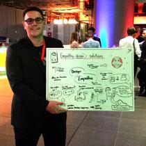 TEDx Konferenz in Heidelberg: Wie Philipp Schuch freuten sich weitere 7 Speaker über die Graphic Recordings, die ihre Vorträge festhielten und um die sich die Konferenzteilnehmer in den Pausen schaarten.