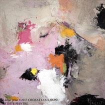 """Tableau Peinture Abstraite Contemporaine: """"Lâcher prise"""" (30X30)© (Enduit de Chaux/ bois)"""