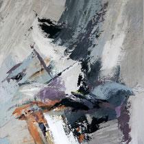 """Peinture d'Art Abstrait- Oeuvre Unique: """"Murmures"""" (50X61) © (Enduit de Chaux/ bois)- Collection Tableaux"""