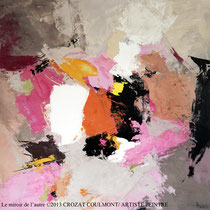 """Peinture d'Art Abstrait- Oeuvre Unique: """"Le miroir de l'autre"""" (81X81) © (Enduit de Chaux/ bois)- Original Art"""