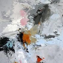 """Tableau Peinture Abstraite Contemporaine: """"Bienveillance"""" (54X65) © (Enduit de Chaux/ bois)"""