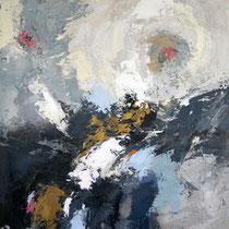 """Tableau Peinture Abstraite Contemporaine: """"La petite voix"""" (73X92) © (Enduit de Chaux/ bois)"""